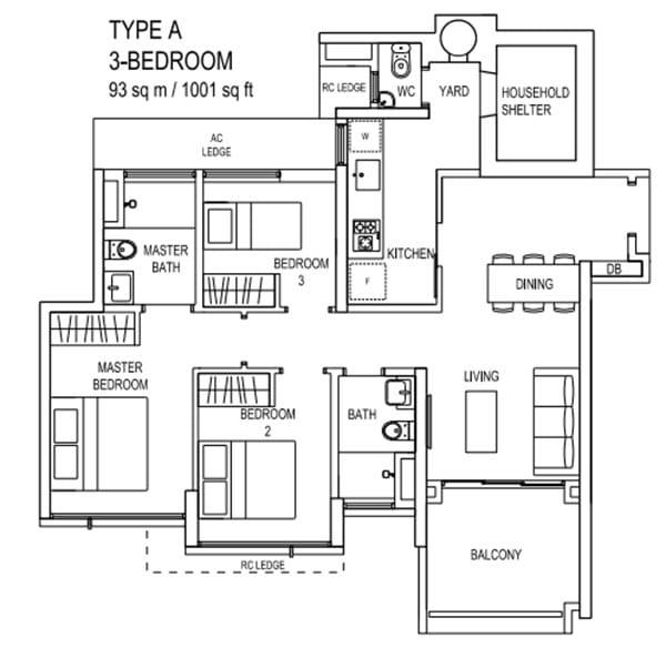 the terrace ec floor plan Type A