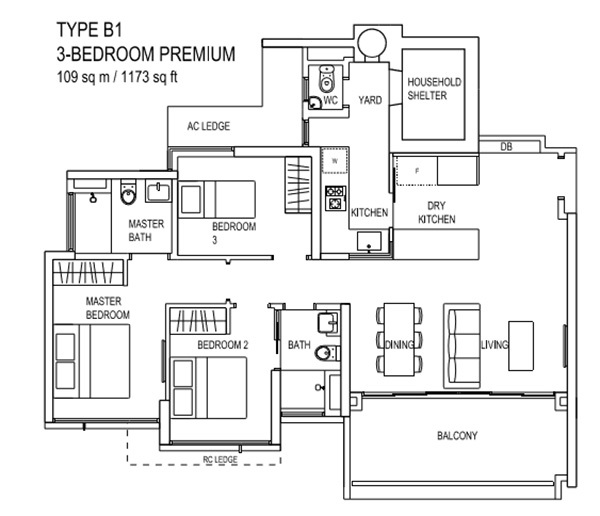 the terrace ec floor plan Type B1