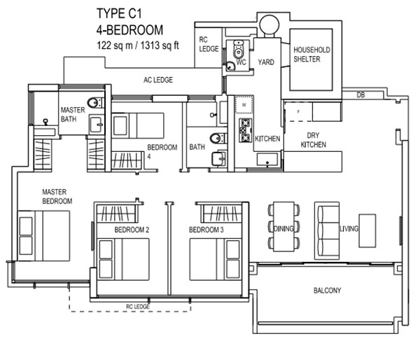 the terrace ec floor plan Type C1