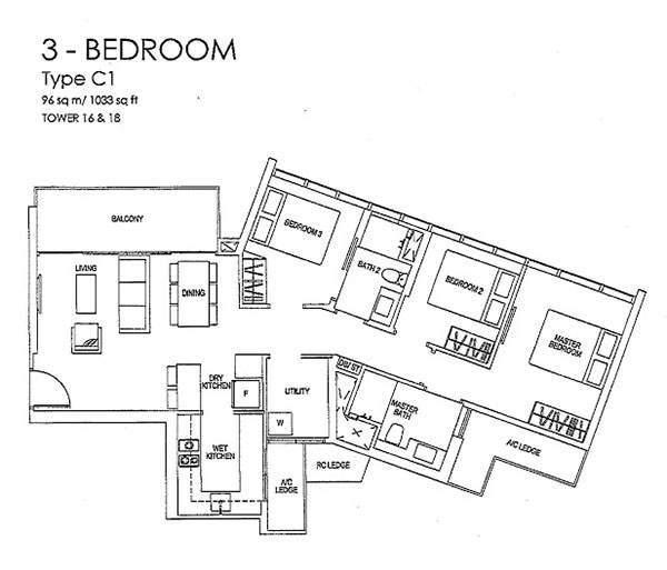 Sims Urban Oasis Floor Plan 3BR Grand