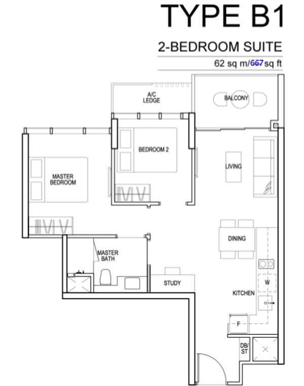 sims urban oasis floor plan 2BR
