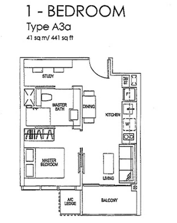 sims urban oasis floor plan 1-bedroom